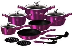 Набор посуды Berlinger Haus Metallic Line Royal Purple Edition BH-1662 N - 15 пр, фиолетовый
