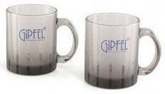 Набор из 2 кружек GIPFEL FROSTED STRIPE GRAY GLASS MUG 7937 - 350 мл